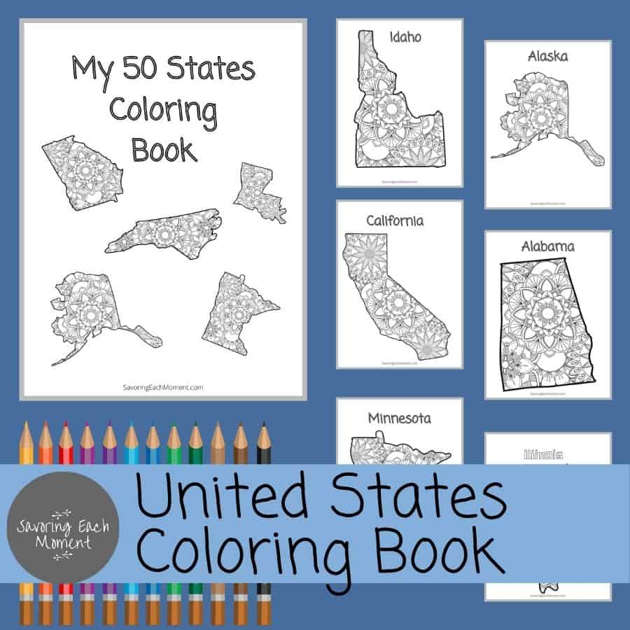 United States Colroing Map Book