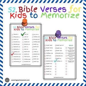 Colorful checklist of kid's memory verses.