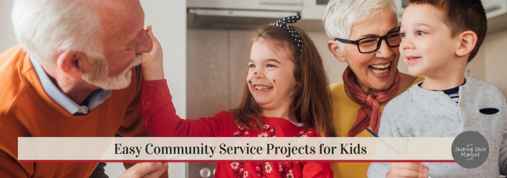 community service projects and ideas for kids - little girl with grandpa