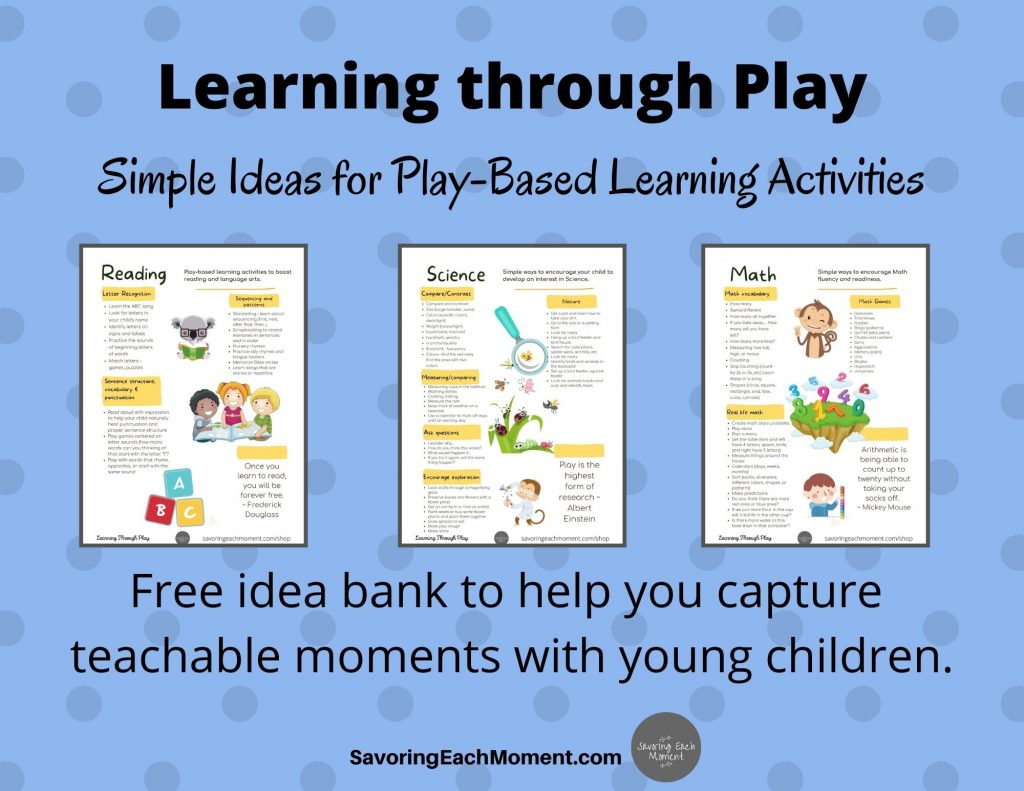 Learnign through Play  Activities for play based learning with young children