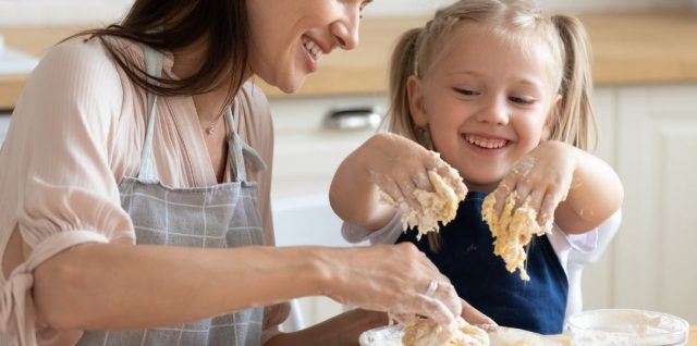 mother and child making bread - Math activities for Preschoolers