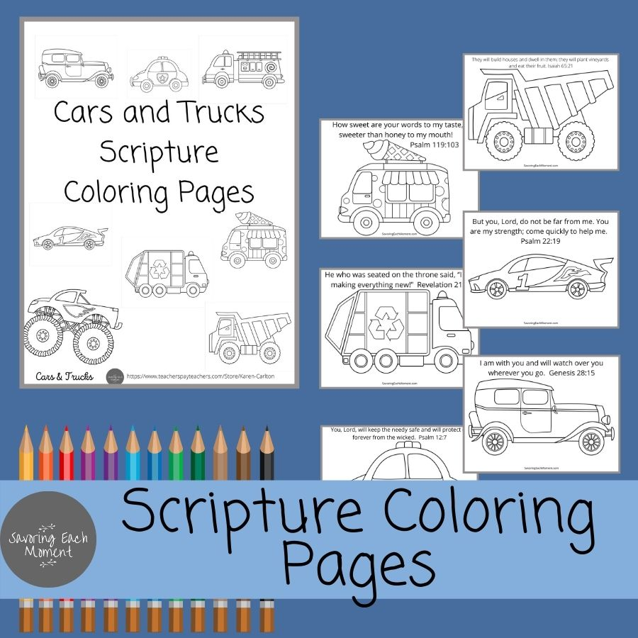 Scripture Coloring Pages cars & trucks